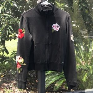Lucky Brand Embroidered Floral Full Zip Sweatshirt